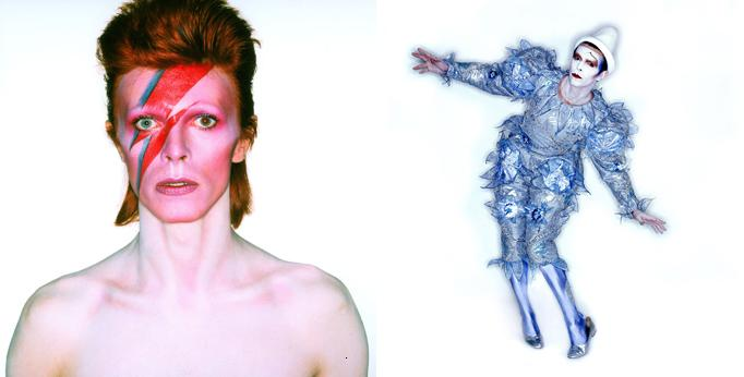 Aufnahme von David Bowie für das Albumcover von Aladdin Sane, 1973 + David Bowie während der Filmarbeiten zum Musikvideo Ashes to Ashes, 1980, Foto Duffy © Duffy Archive & The David Bowie Archive/