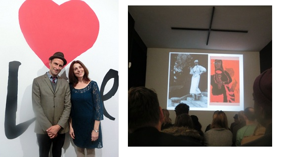 Curators Aaron Rose and Sasha Carerra at the Circle Culture Gallery exhibition opening in Berlin (right) and an unusually fashionable Corita, before she donned the nun's habit, shown during the curators' opening talk