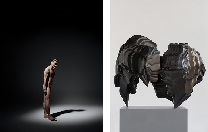 Links: Andreas Mühe, Darges 42 II, 2012, C-print, 140 x 110 cm; © Andreas Mühe, carlier | gebauer, courtesy: carlier | gebauer, Berlin; Rechts: Tony Cragg, Cauldron, 2005, bronze, 119 x 125 x 133 cm; Courtesy: Buchmann Galerie, Berlin.